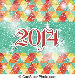 azul, año, saludo, colores, nuevo,  2014, blanco, tarjeta, feliz