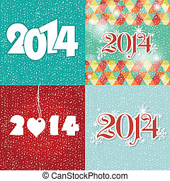 Set Happy New Year 2014 greeting card in blue and white...