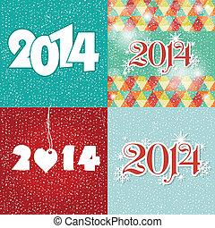 azul, Conjunto, saludo, nuevo, colores, año,  2014, blanco, tarjeta, feliz