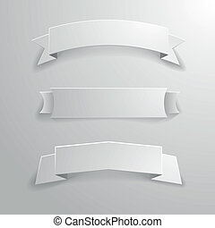 white_banner_ribbons_01 - detailed illustration of a set of...