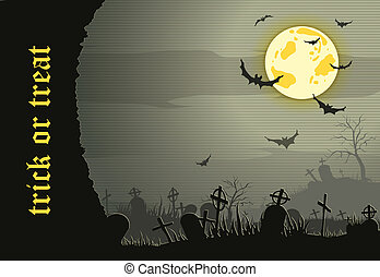 Abstract Halloween night background  with  graveyard and bats