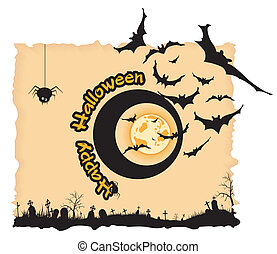 Abstract Halloween night background  with  graveyard, bats