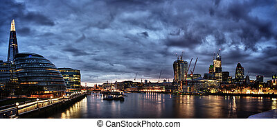 London Panorama - New London city hall at night , panoramic...