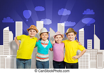 childrens team - children in a row, wearing a hat childrens...