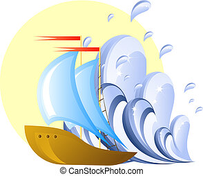 Sailing ship, wave