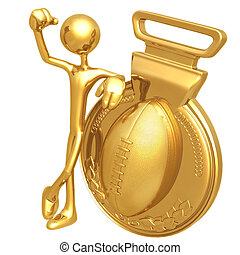 Gold Medal Football Winner - 3D Concept And Presentation...