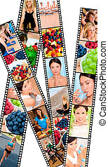 Montage Healthy Women Female Lifestyle & Eating - Filmstrip...