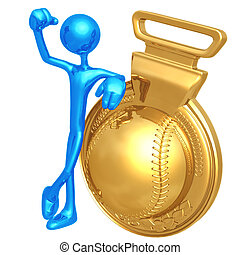 Gold Medal Baseball Winner - 3D Concept And Presentation...