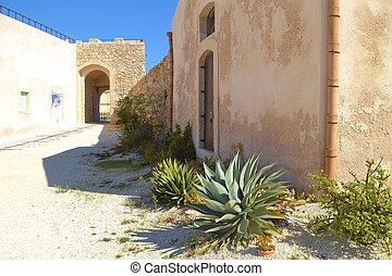 Agave Cactus and Spanish Fort - Agave cactus grows by a...