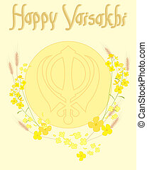 vaisakhi festival - an illustration of ripe wheat and golden...