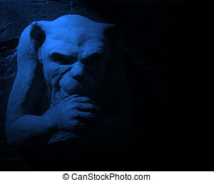 Evil gargoyle - Halloween gargoyle stone figure with moon...
