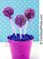 Swirl Cake Pops - Chocolate cake pops with purple swirl...
