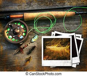 mosca, pesca, vara, polaroids, quadros, madeira