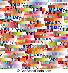 Vibrant Color Months Abstract Background. Vector...