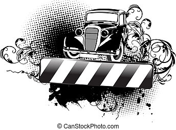 Black And White Grange Old Auto And Curves Banner.
