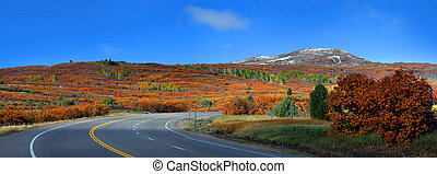 Scenic Colorado high way 62 - Panoramic view of scenic...