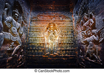 Prasat Krawan, Cambodia - Carvings in the central tower of...