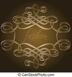 Dark Brown Calligraphy Curves Quad Vector Illustration