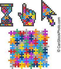 Vibrant Color Puzzle Computer Cursors. Vector Illustration.