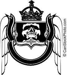 Black And White Crowned Scull Heraldry. Vector Illustration.