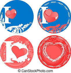 Set Of Romance Love Pink And Blue Signs. Vector Illustrations.