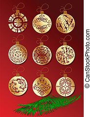 Red Christmass Tree Ornament With Gold Balls. Vector...