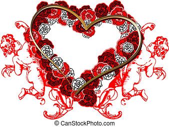 Red Roses Heart And Two Angels. Vector Illustration.