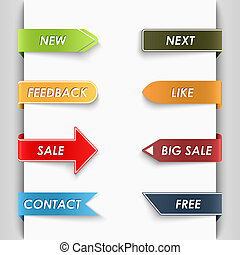 Color set of bent paper web tags vector eps 10