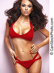 Sexy woman wearing red lingerie - Sexy young woman wearing...