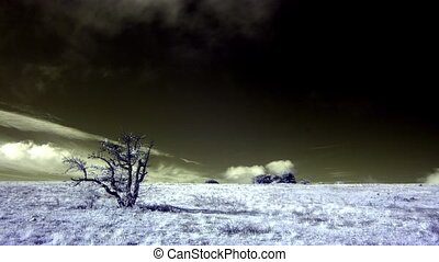 InfraRed landscape: Movement of the clouds on the mountain....