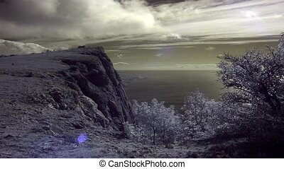 InfraRed landscape: Movement of the clouds on the mountain...