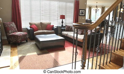 Luxury Home Family Room - Moving dolly shot of a beautiful...