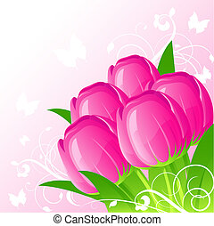 Background with tulips - Background with  tulip, vector