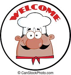 African American Chef Man Face Cartoon Circle Label
