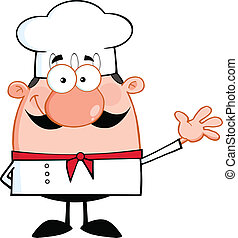 Cute Little Chef Cartoon Character Waving For Greeting...