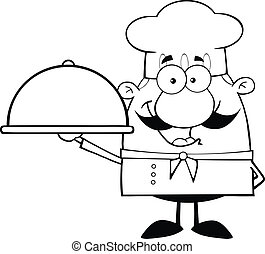 Black and White Happy Chef Cartoon Character Holding A...