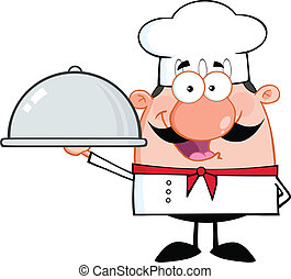 Happy Chef Cartoon Character Holding A Platter Illustration...