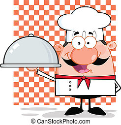 Chef Character Holding A Platter - Happy Chef Character...