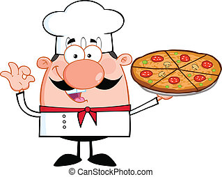 Little Chef Holding A Pizza Pie - Cute Little Chef Cartoon...