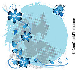 vector frame flowers - Abstract frame with blue flowers