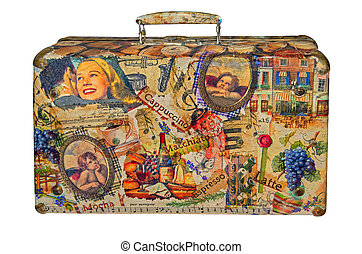 Old suitcase - Creative retro valise on a white background...