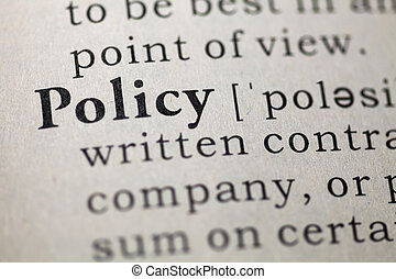policy - Dictionary definition of the word policy