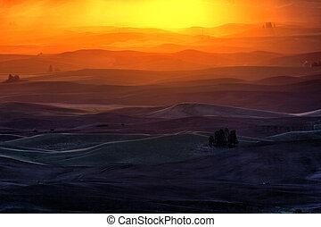 rolling hill and Farm Land, sunrise