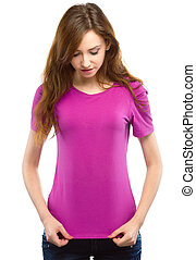 Young woman in fuchsia t-shirt - Young cheerful woman in...