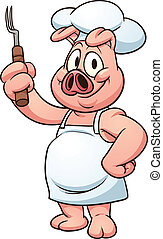 Chef pig - Cartoon chef pig. Vector clip art illustration...