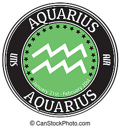 Aquarius zodiac label - Aquarius zodiac astrology label...