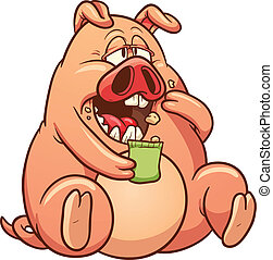 Fat pig - Cartoon fat pig eating. Vector clip art...