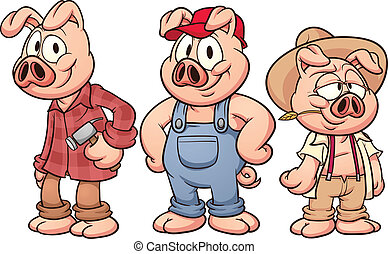 Three little pigs - Cartoon pigs. Vector clip art...