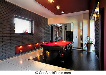 Contemporary interior with a snooker table - Contemporary...