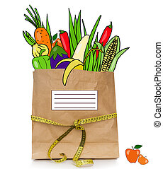 Fresh drawn  food in a paper bag